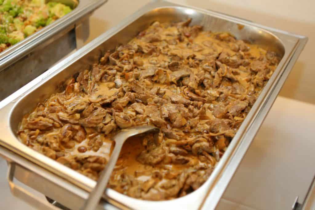 Beef Filet in a Chanterelle and Champignon Sauce as a Wedding Buffet