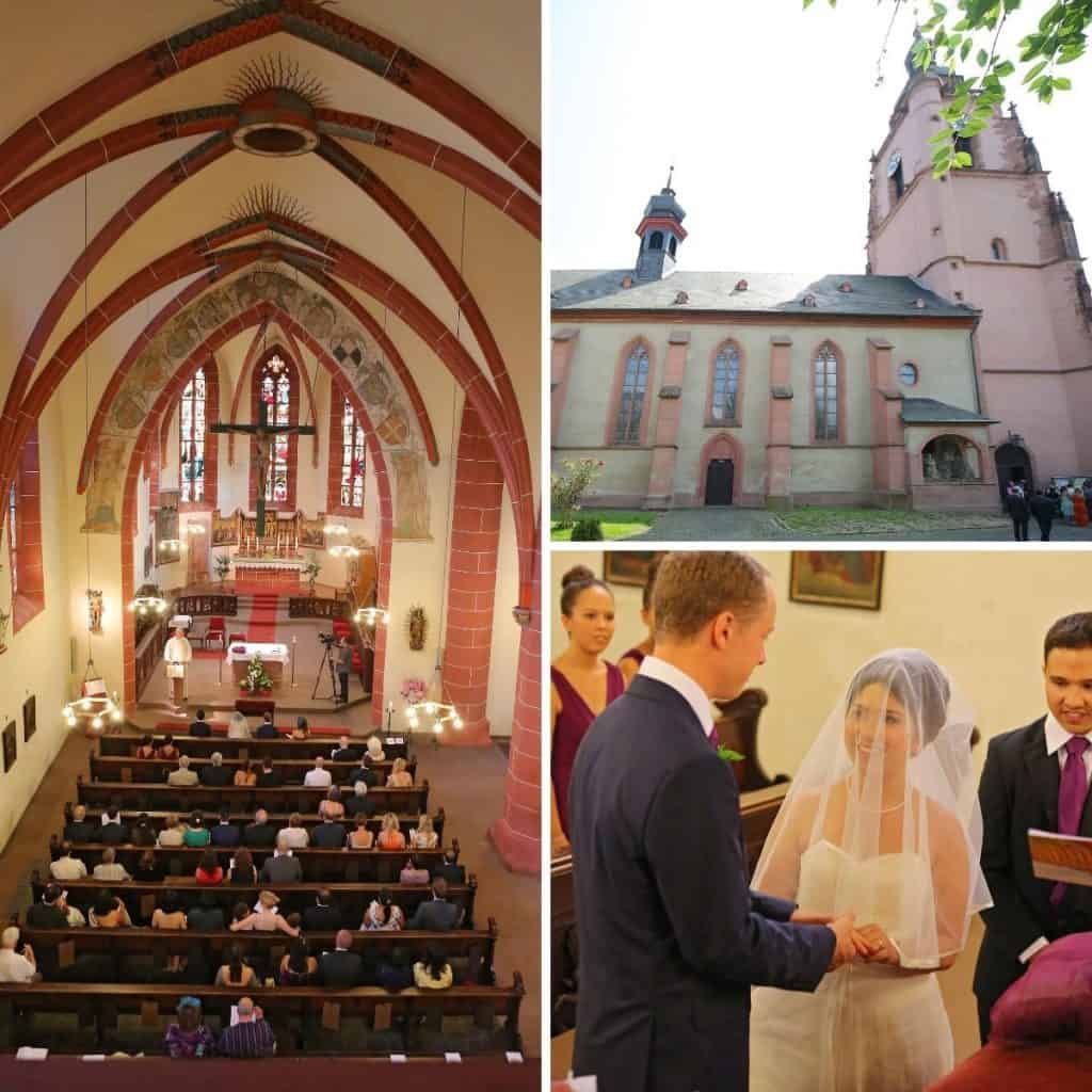 1. Picture of Church St. Peter and Paul in Elville, 2 picture of the inside of the church. 3. a wedding couple giving their vows.