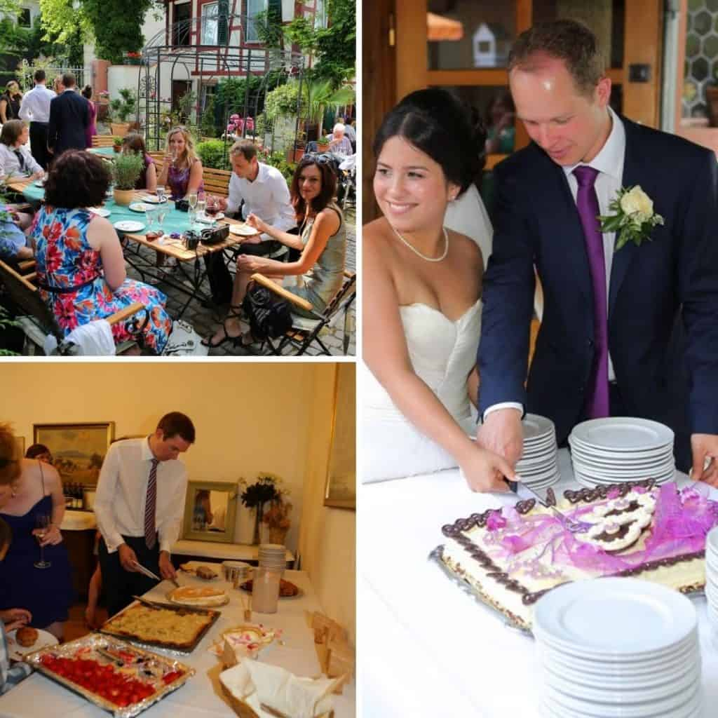 Wedding guests eating cake, A cake buffet and a weddiing couple cutting the cake