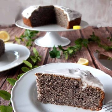 Lemon glazed poppy seed cake