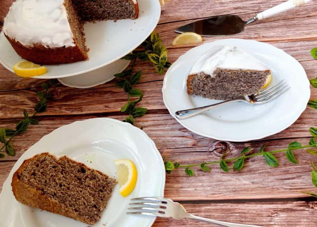 Slices of German Poppyseed cake