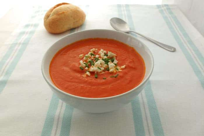 Roasted Red Pepper Soup with Feta Cheese