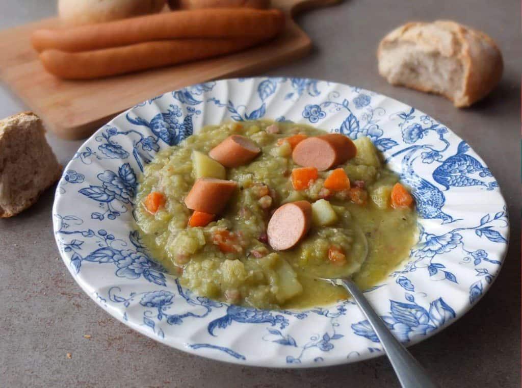 a spoon full of german split pea soup