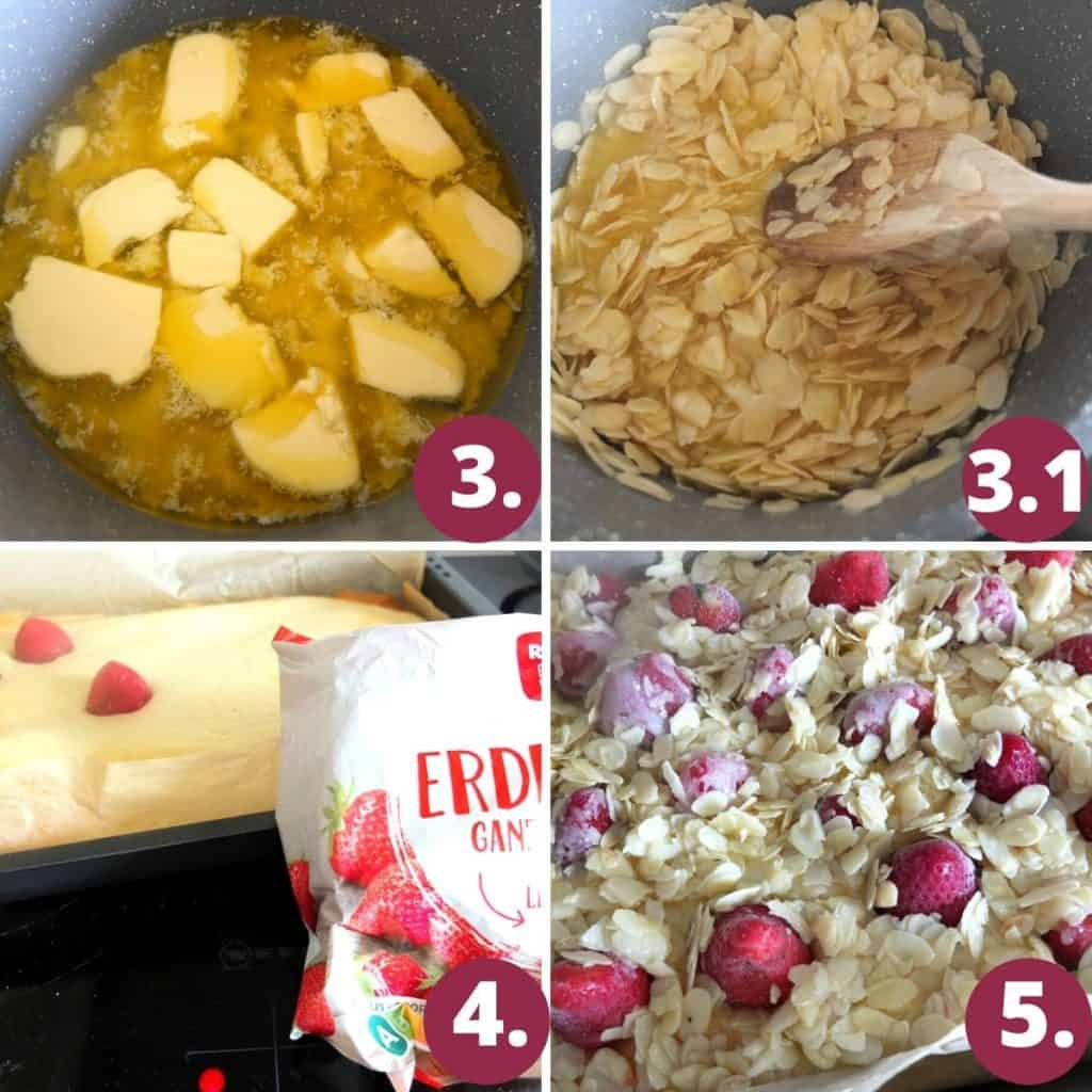 Melt the butter and sugar in a pan, add the almonds, place the strabwerries on top of the cake. Cover with almond butter mix.