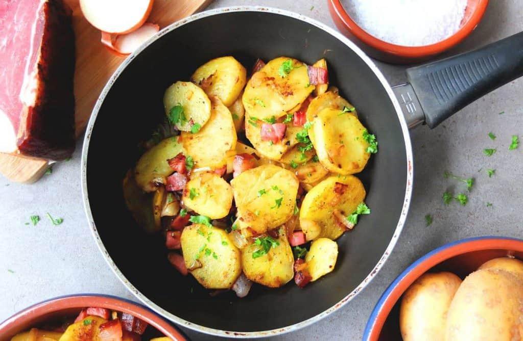 German Fried Potatoes in a Pan