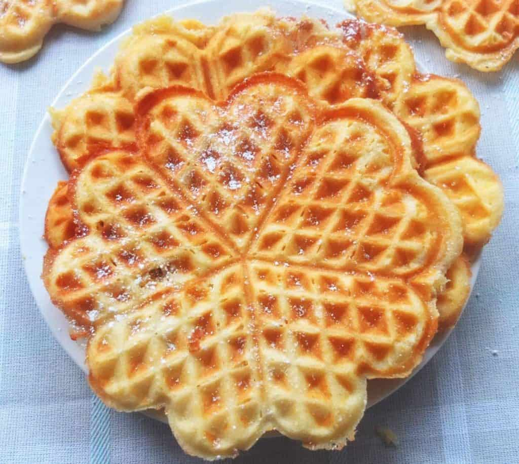 German Waffles with Icing Sugar