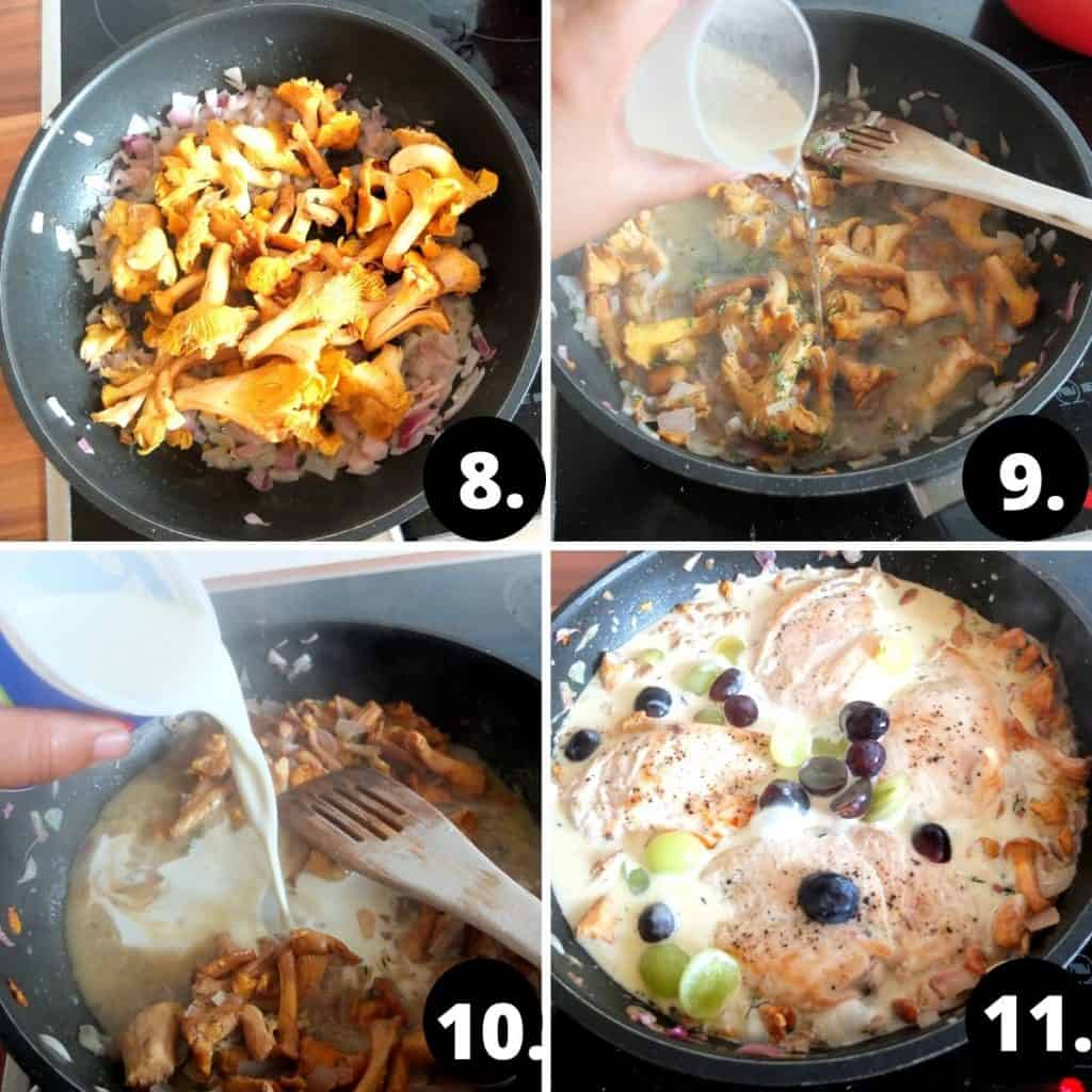 Recipe Steps for Chantarell Pasta 1. Chantarelle Mushrooms in a frying pan. 2. the fried mushrooms are being deglazed with white wine. 3. Whipping cream is being added to the mushroom mix. 3. The mushoom dish now as the chicken and grapes and is being boiled.