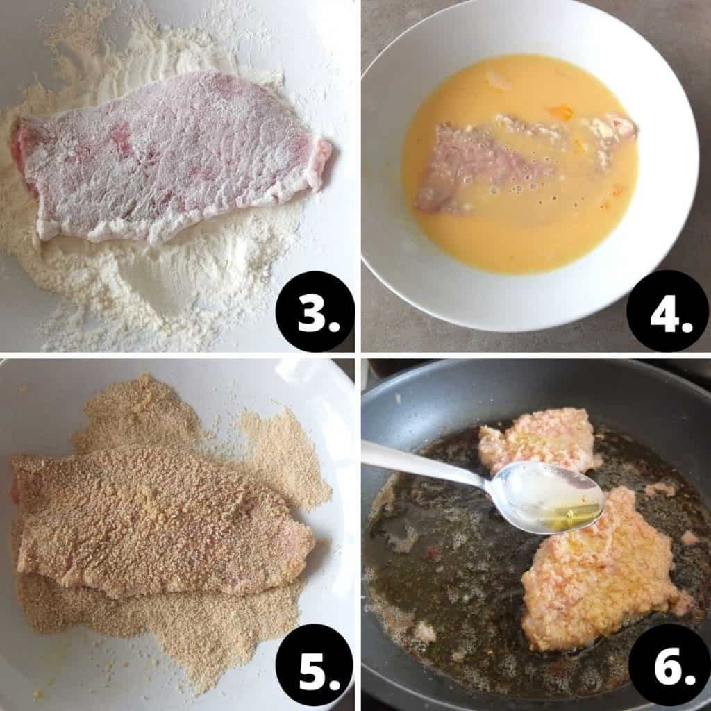 1. on a white plate the schnitzel is coated in flour. 2 in the next plate the schnitzel is coated in egg wash. In the 3rd picture the schnitzel is tossed in breadcrumbs. In the last picture the schnitzel is being fried in clarified butter. A spoon is pouring some hot butter over the schnitzel.