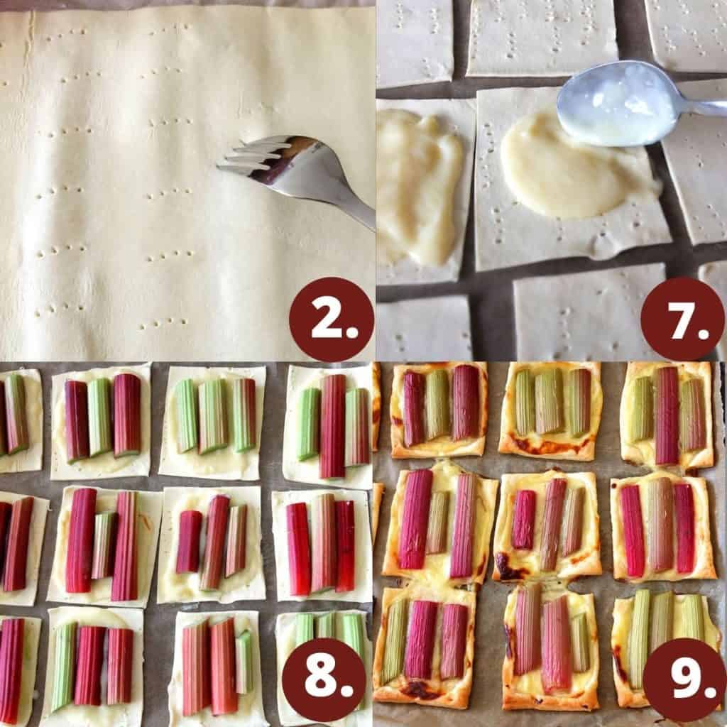 How to make rhubarb tarts: 1. prick the puff pastry with a fork. 2. Spoon on the vanilla pudding. 3. Lay the rhubarb sticks on the pudding base. 3. Bake for up to 12-15 minutes until crispy