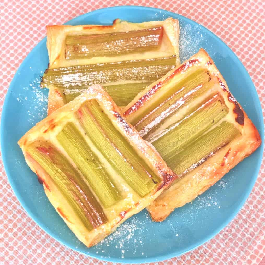 rhubarb tarts with puff pastry on a plate