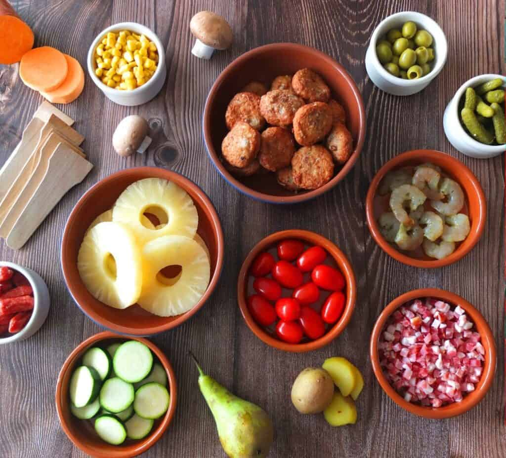 Ingridients for the perfect raclette meal
