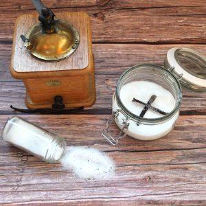 Vanilla Sugar in a jar and a spice pot