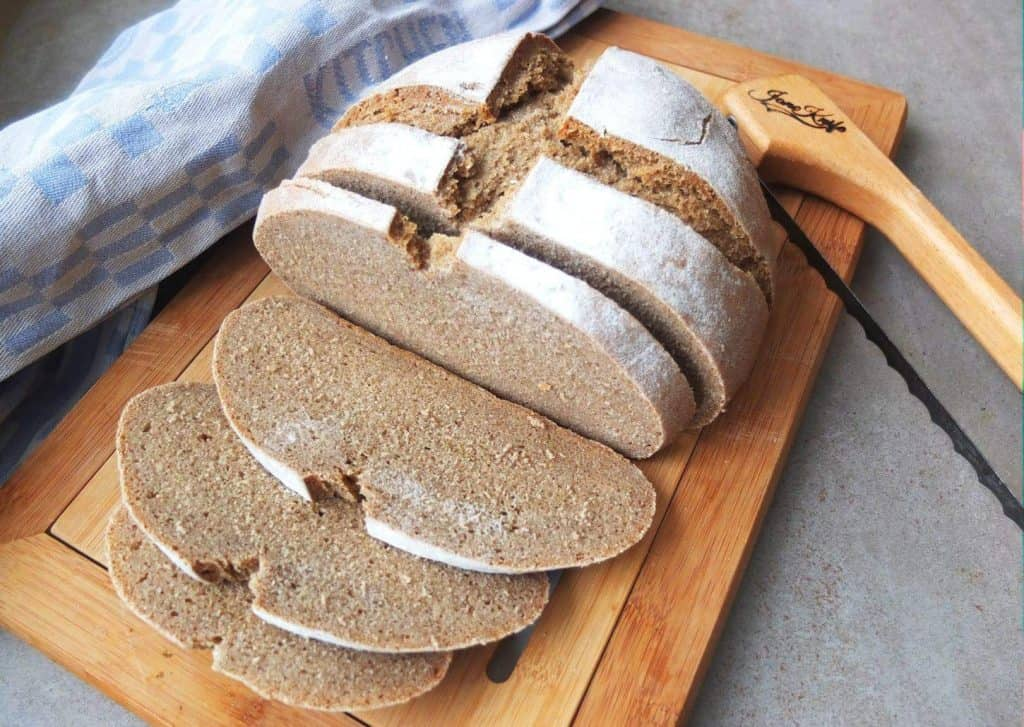 Sliced loaf of German Rye Bread