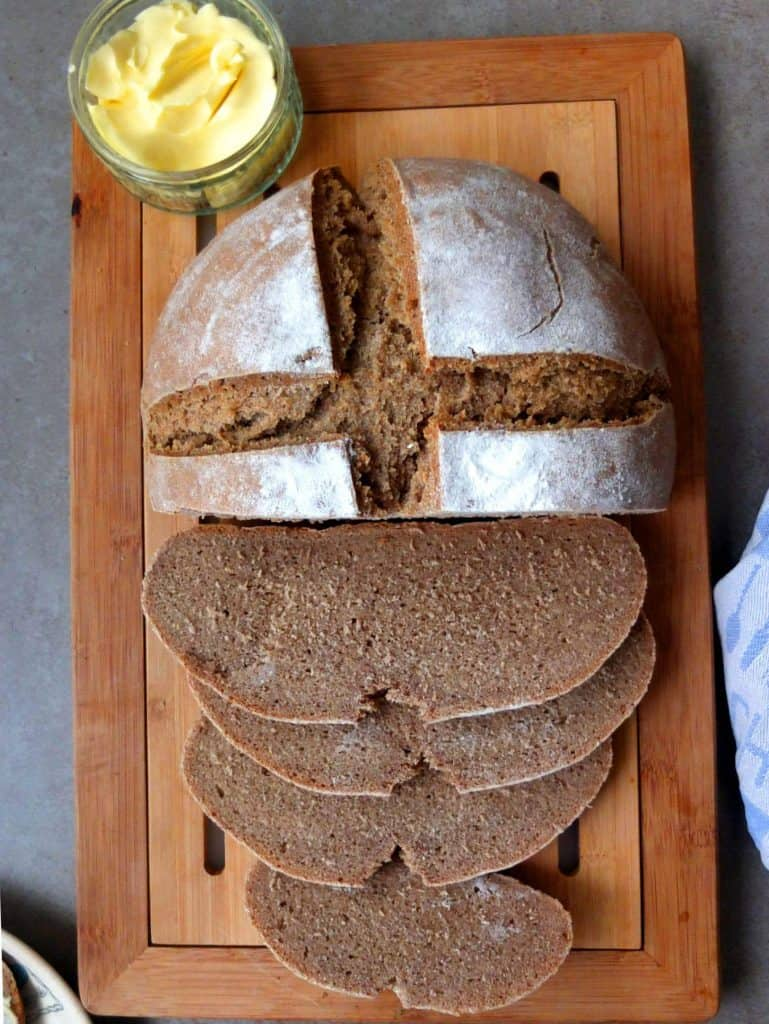 German rye bread sliced with butter
