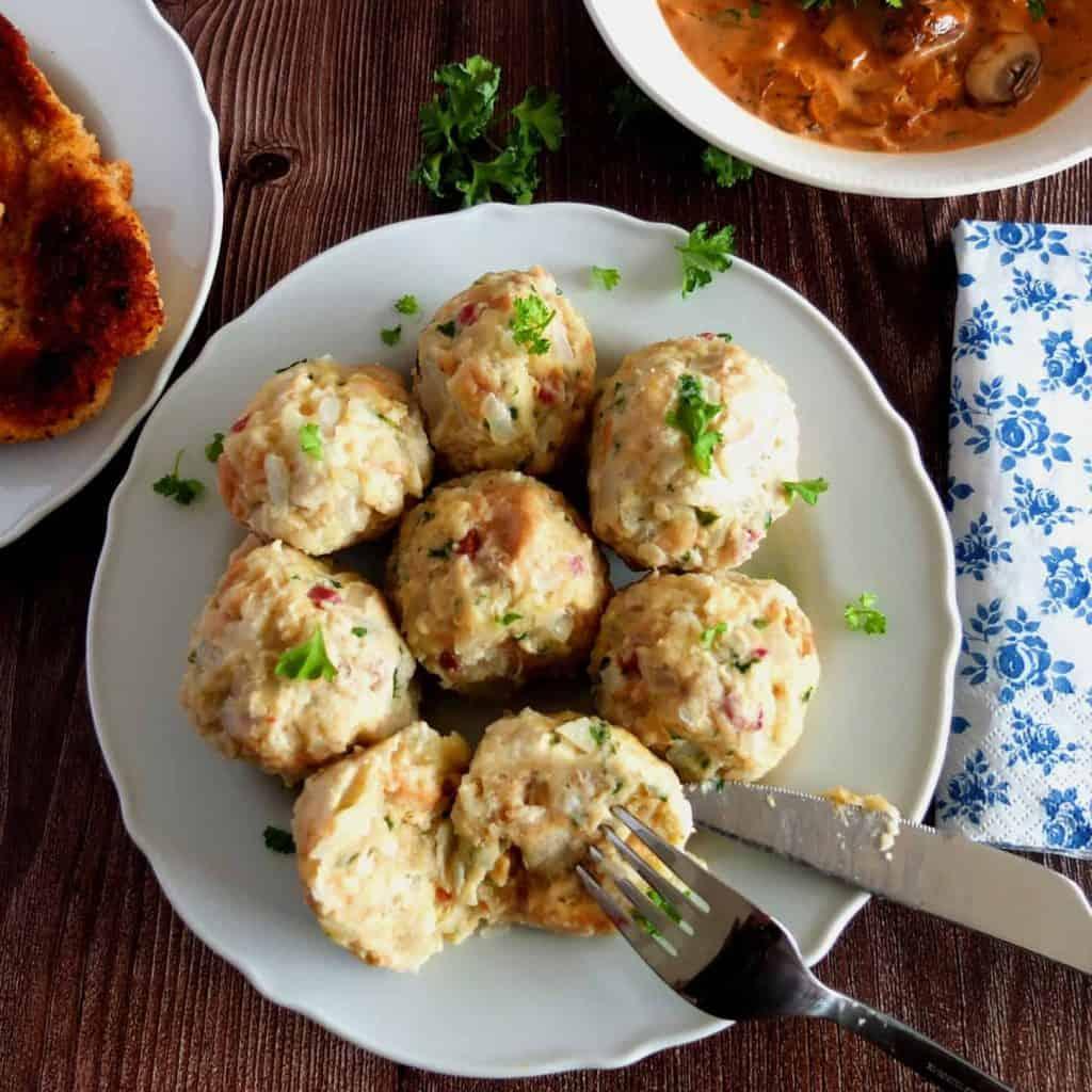 German Bread Dumplings with cutlery