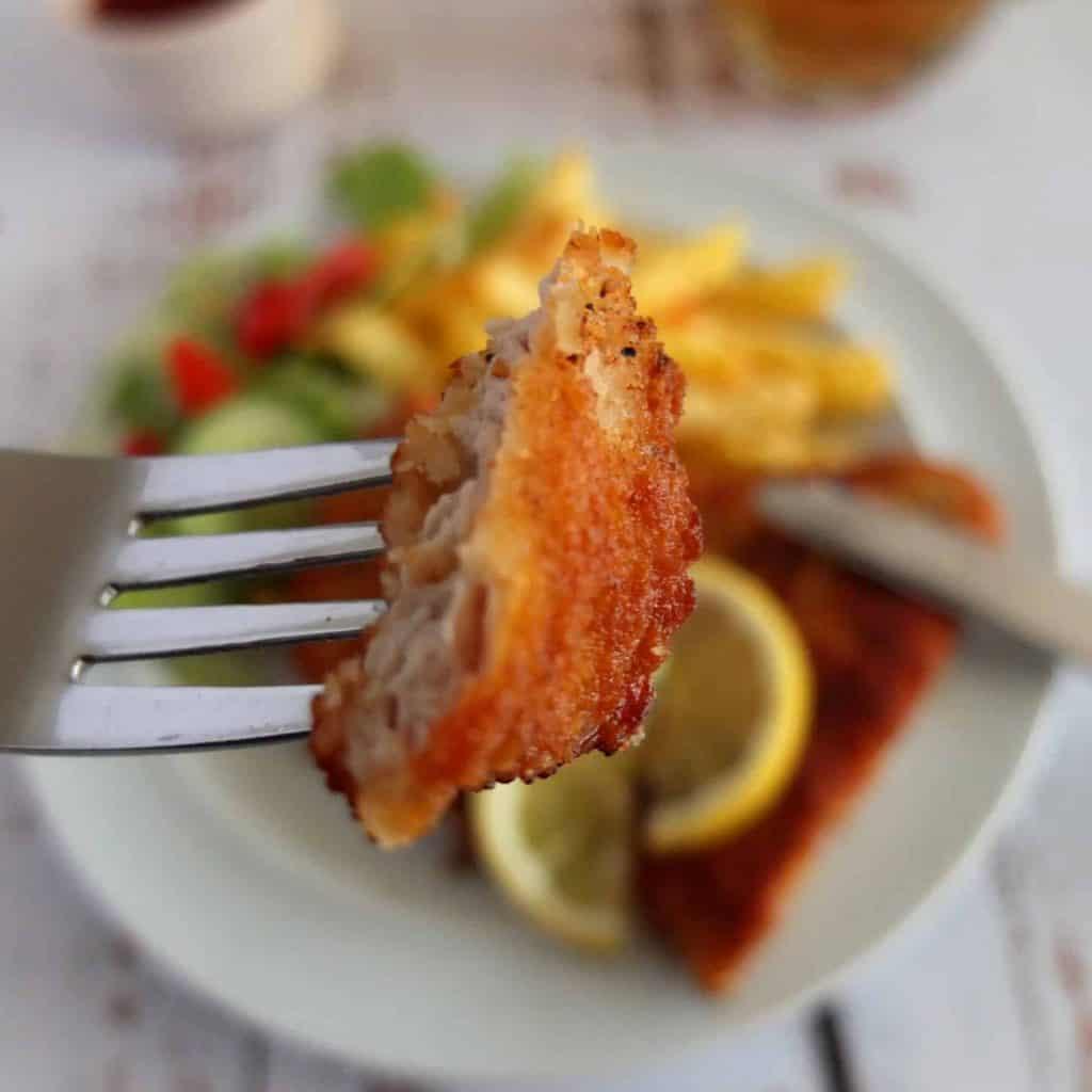 Piece of Turkey Schnitzel on a Fork