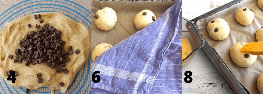 Recipe Steps for Chocolate Buns such as preparing the dough
