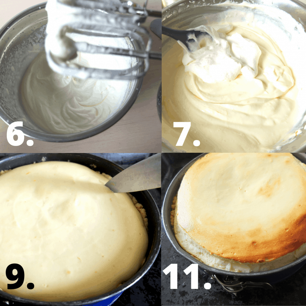 1. whip the cream stiff . 2. add the rest of the filling ingredients and combine. 3. after 30 minutes of baking make an round incison around the edges. 4. The cake will rise