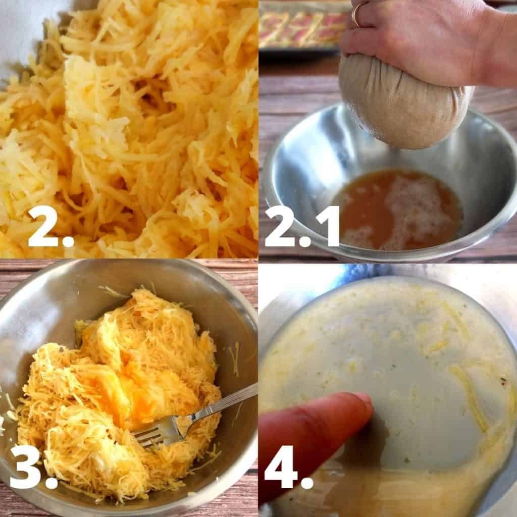 Step by Step instructions on how to make German potato cakes. 1. Grate potatoes, 2. get rid of excess water, 3 mix with egg, 4. keep the starch