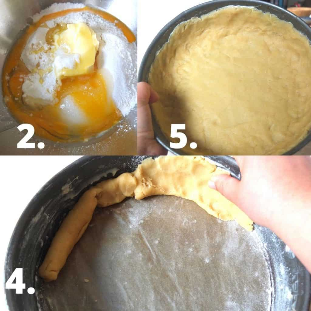 Recipe Steps for cheese cake - 1 Make the base, 2. form into a roll and press up the edges of the form. 5. Patch the base of the pan