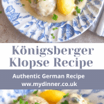 Konigsberger-Klopse on a plate with potatoes