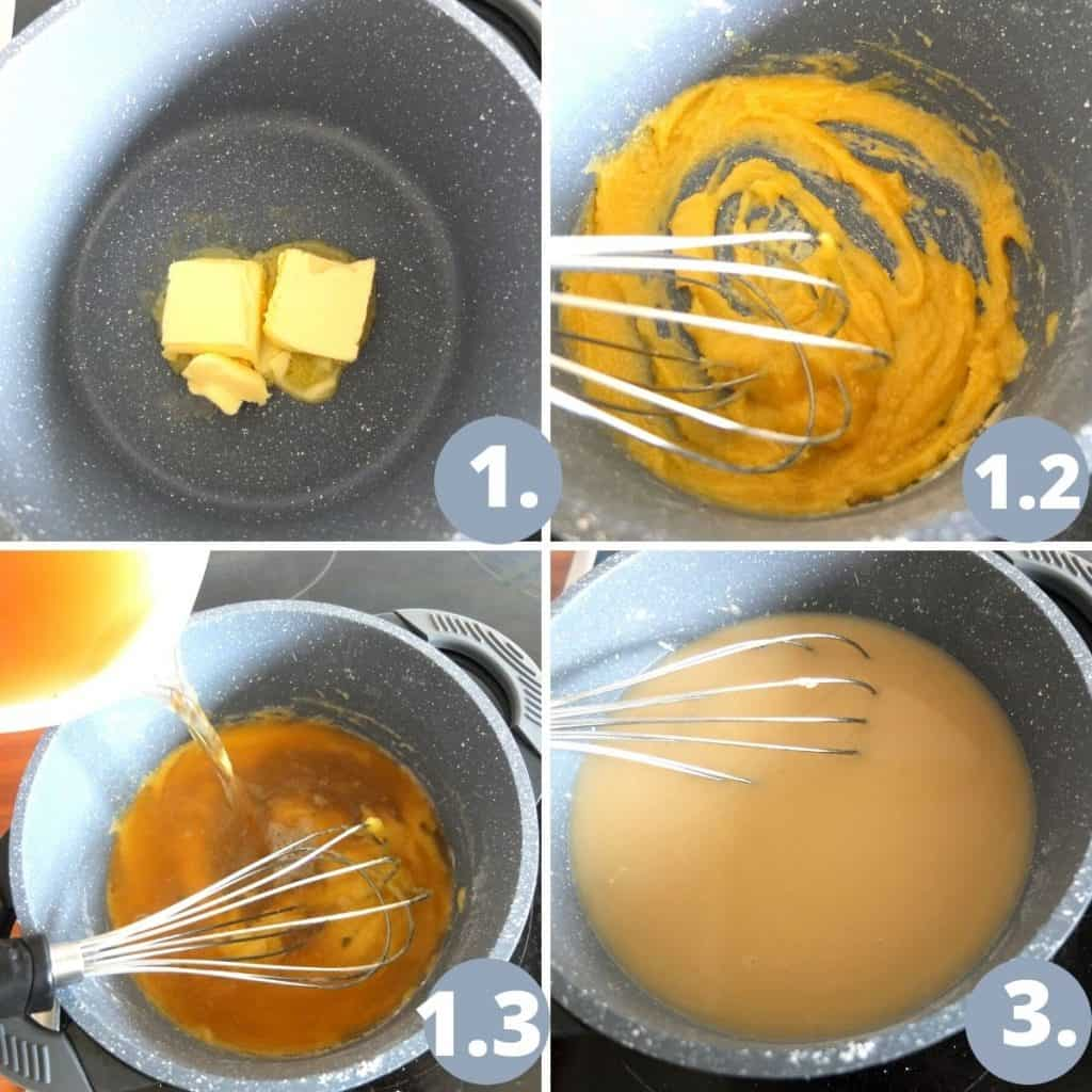 Rahm Sauce Recipe step. 1. Melt the butter. 2 add the flour and mix into a paste. 3. Add the broth. 4. Mix in the cream and tomato paste.