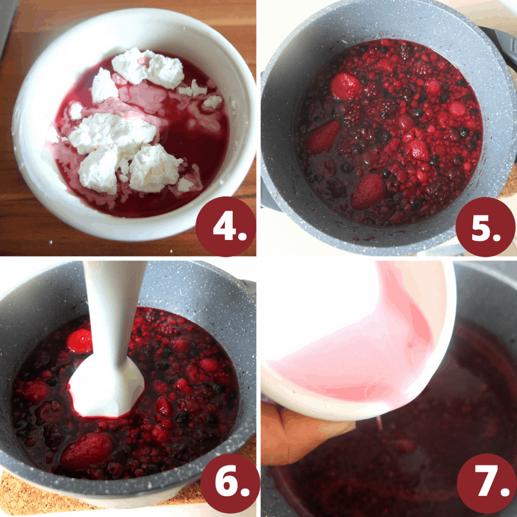 Recipe Steps for Rote Gruetze  4. Mix starch with cherry juice  5. Cook the berries in water  6 Puree the berries  7. Thicken with cornstarch