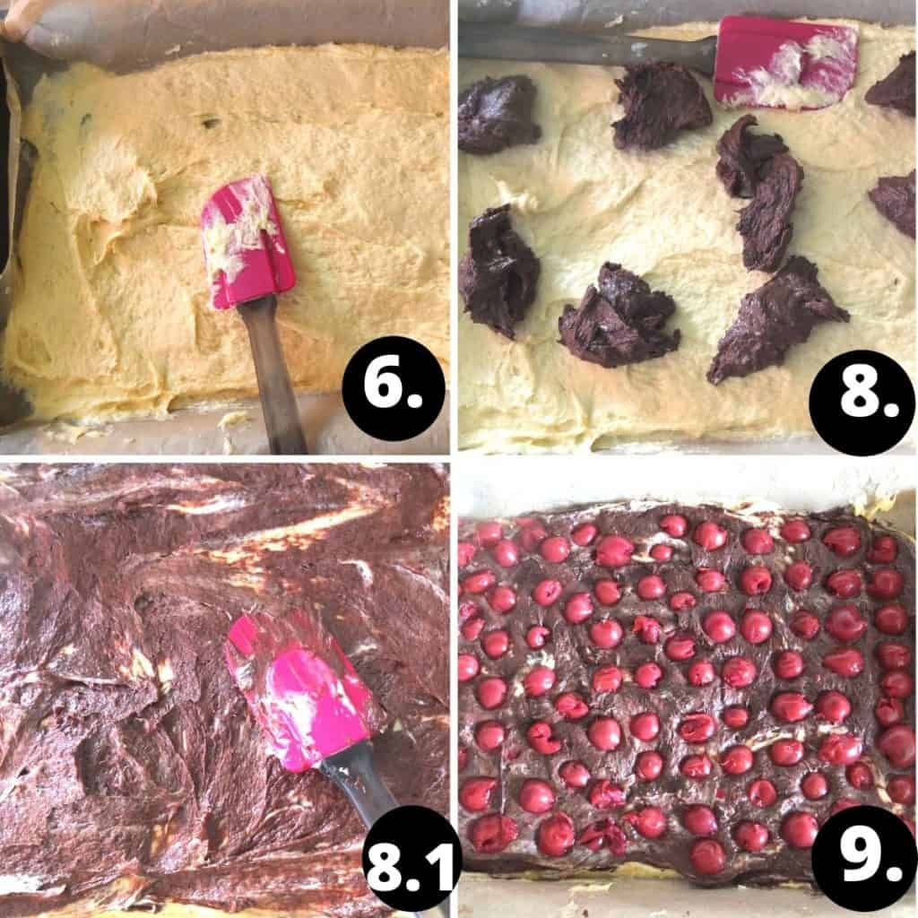 Donauwelle Recipe Steps. 1. Spread the white dough on the cake base. 2. add the dark dough with a spoon. 3. Spread the dark though over the white dough. 4. Add the cherrys on the dough