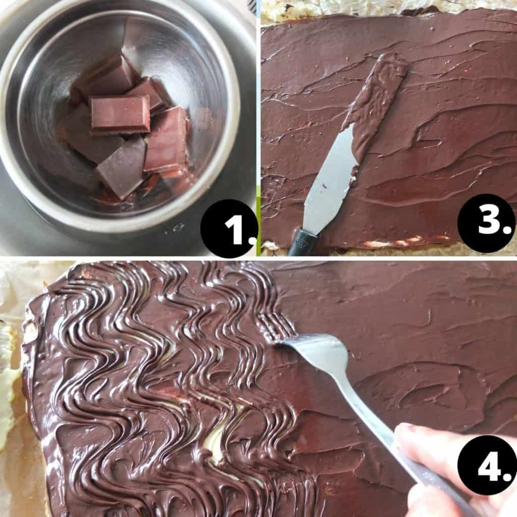 Chocolate glaze for donauwelle. Melt the chocolate in a waterbath, 2 spread over the cake with a pallet knife. 3. With a fork make some wavy patterns into the chocolate
