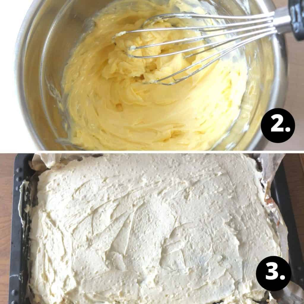 Danube Cake Recipe Steps. 1. mix the butter and vanilla pudding together. 1. spread the german butter cream over the cake base