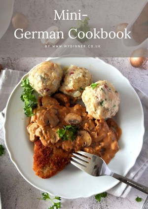 Mini Cookbook with a picture of a Schnitzel