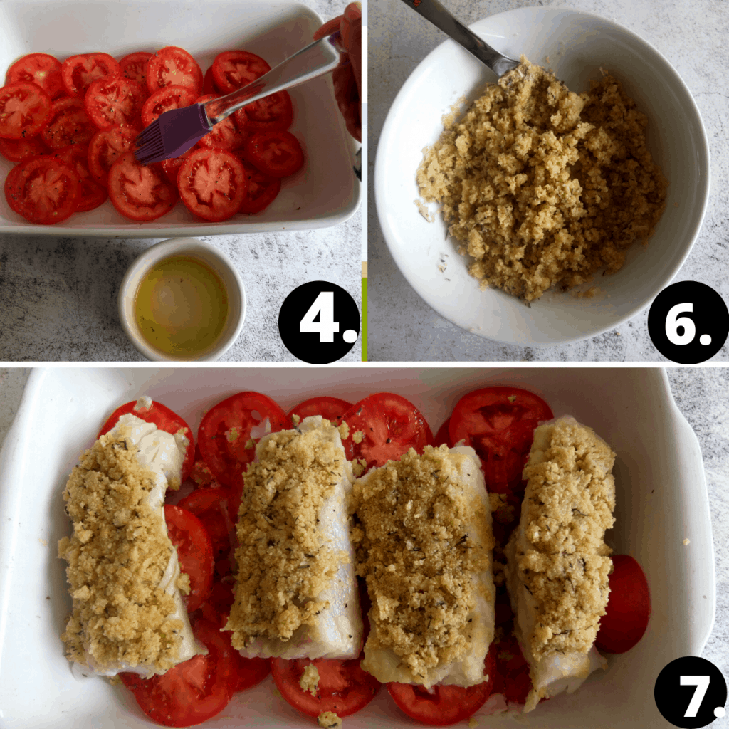 Recipe Steps in three pictures. 1. slices tomatoes in a casserole dish being brushed with olive oi. 2. Cod breadcrumb topping being prepared. 3. The cod fillets are in a white casserole dish. They lie on top of the tomatoes and are being topped iwth the bread crumb crust.