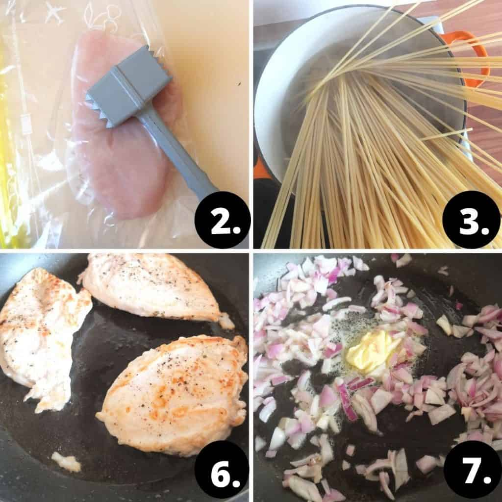 Chantarelle Pasta Step by Step Instructions: 1. Meat being tenderised. The chicken is placed between plastic sheets. A meat hammer is on top. 2. Aerial view of a pot with pasta in. 3. The chicken schnitzel in a black pan being fried. 4. the onions are being fried in butter in a frying pan