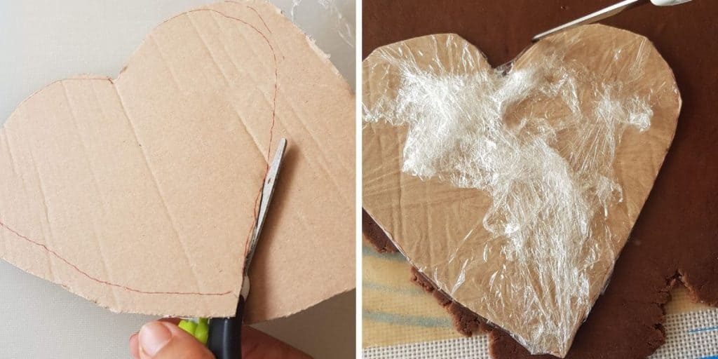 A DIY template to cut out German Gingerbread Heart Cookies.  1 Picture shows the heart being cut on out cartboard. The second shows how shows how the heart is cut out with a knife.