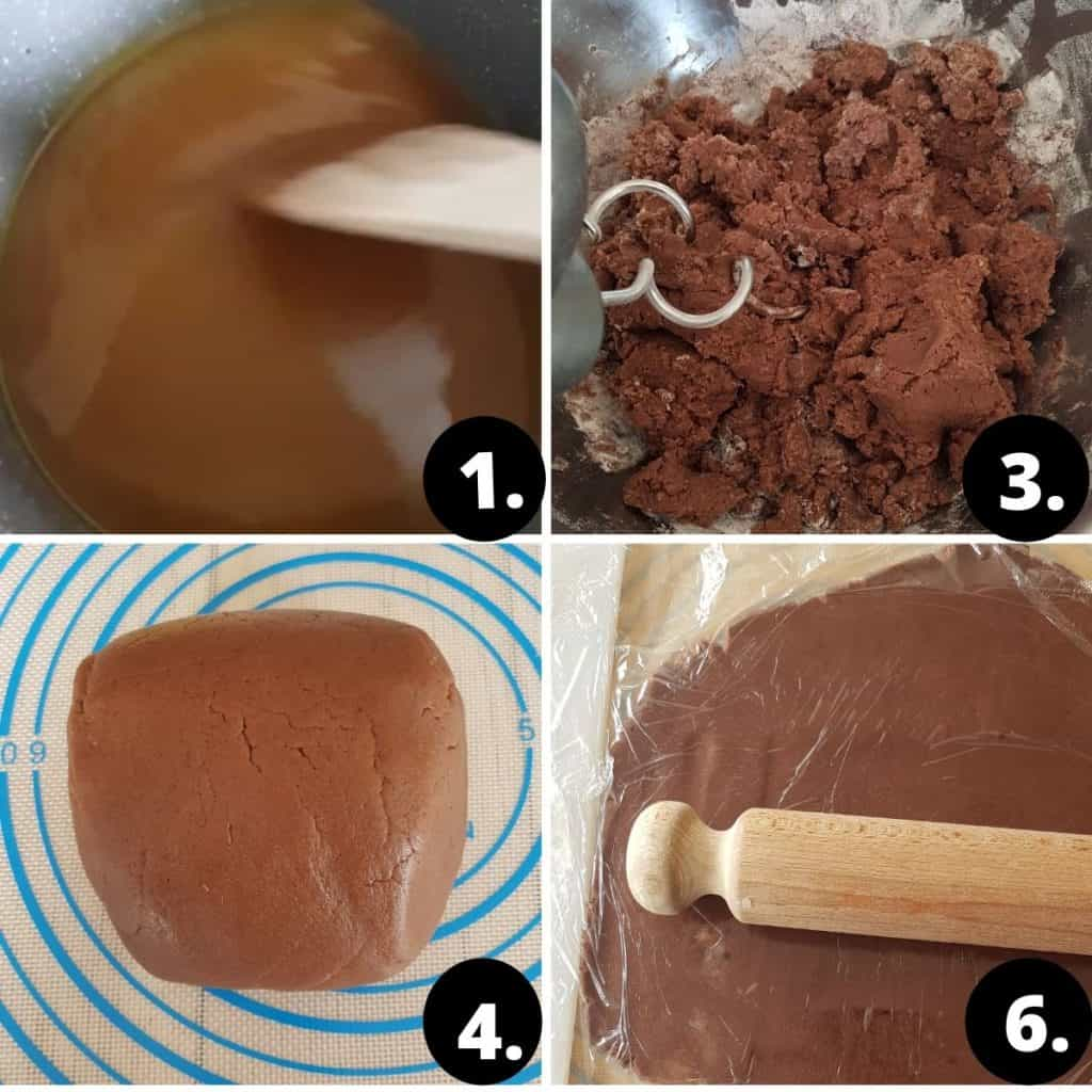 Lebkuchen Herzen Recipe Steps. 1. The honey, sugar and butter melted in a pot. 2. Rest of the ingridients are added. 3 You can see the finished dough on a non-stick mat. 4. The gingerbread dough is being rolle out with a wooden rolling pin